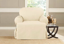 Heavyweight Cotton Duck 1 pc Chair Slipcover Natural  T seat style 100% cotton