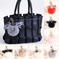 Pom-pom Rabbit Fur Key Chain Charm Handbag Fluffy Puff Ball Bow Key Ring Pendant