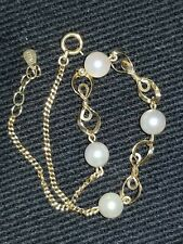 18 k yellow gold bracelet authentic 1/4 inch pearls very fancy *WOW*