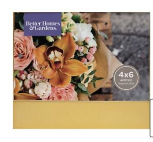 Better Homes And Gardens Gold Block Magnetic 4x6 Picture Frames Set Of 2