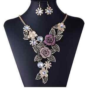 Hollow Lace Flower Crystal Inlay 18K Gold Plated Chain Necklace Earrings Set Hot