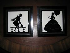Matched Pair Arts & Crafts Ceramic Mantle Tiles Black & White Silhouettes c1900