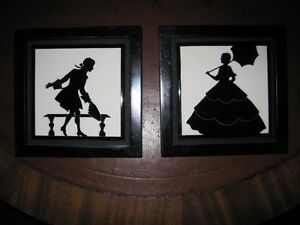 Matched Pair Arts & Crafts  Ceramic Mantle Tiles Black & White Silhouettes c1900