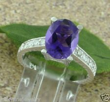 2.28 ct 14k White Gold Ladies Natural Amethyst  & Diamond Ring Antique Inspired