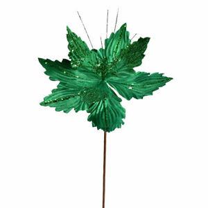 "Vickerman 12"" Green Poinsettia Spray 6/Bag"