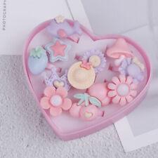 12x mix cartoon flower resin plastic baby kids girl children's rings with box_ti