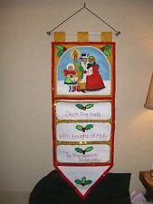 Vtg Christmas Caroler Bucilla Felt Jeweled Sequin Greeting Card Holder Completed