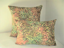 Rain Forest Green Pillow Cover Leaves Dots Yellow Rust Dyed Batik Handmade