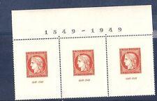 TRES RARE bande horizontale de 3 timbres avec marge1849-1949 NEUF**LUXEcote 265€