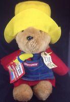 "Paddington Bear Sears Craftsman Denim Apron 15"" Tag Hammer Plush Vtg Yellow Hat"
