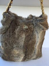 Tory Burch Open Dome Snap Closure Rabbit Fur Hobo Shoulder Bag Store Demo