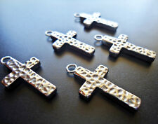 Small Stainless Steel Hammered Cross Pendant / Charm
