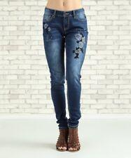 Skinny Jeans Plus Size 20W Monogram Navy Rose Denim Dark Wash Mildly Distressed