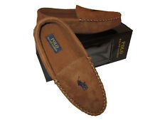 Polo Ralph Lauren Mens Dark Tan Navy Blue Big Pony Gift Box Slippers Shoes 9