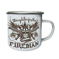 Welcome In Scorching Heat Fireman Firefighter Retro,Tin, Enamel 10oz Mug hh742e
