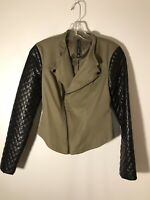 Walter Baker Women's XS Canvas Biker Jacket Olive w/quilted Faux Leather Sleeves