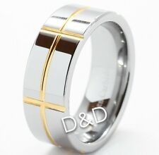 Mens Tungsten Carbide Ring Wedding Band Gold Inlay Size 8 9 10 11 12