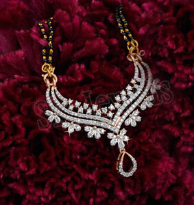 3.30CT NATURAL ROUND DIAMOND 14K SOLID YELLOW GOLD WEDDING MANGALSUTRA NECKLACE