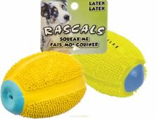 "2 PACKS!! Coastal Pet-Rascals 4"" Latex Squeaky Spiny Football Dog Toy Yellow"
