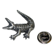 Crocodile Aligator  British Pewter Pin Badge Tie Pin / Lapel Badge XDHLP1321