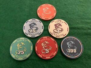 Lucky Dragon Casino Sun-Fly Ceramic Poker Chip Sample set