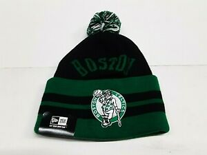Boston Celtics NBA Wide Point Cuffed with Pom Knit Hat