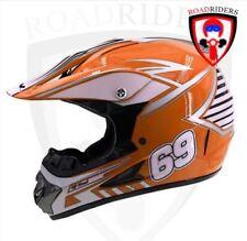 Roadriders' Orange 69 HNJ Off Road Motocross Helmet