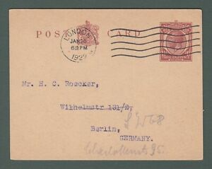 1922 GB - GV 1½d stationery postcard from London to Germany (P760)