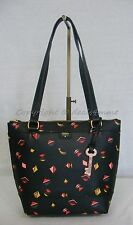 NWT! Fossil Gift Small Black / Multi-Color Print Shopper Bag #ZB6701016