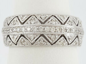 0.65 ct 18K White Gold Round Cut Diamond 5 Five Row Fashion Cocktail Ring