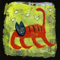 mice dreams e9Art 8x8 on Wood Ready to Hang Cat Outsider Art Folk Painting Brut