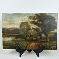 """Old Farm House Cottage in the Country Vintage Oil Painting 12"""" x 18"""""""