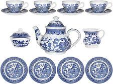CHURCHILL BLUE WILLOW 15 PIECE TEA SET - NEW/UNUSED