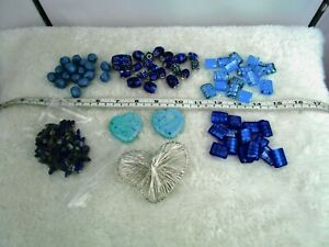 Job Lot blue/turquoise beads-jewellery making,hobby/craft/ pendant/over 8 items