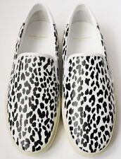 Saint Laurent Paris Talla UK7 US10 EU40 Negro De Cuero Blanco Zapatillas De Skate Leopardo