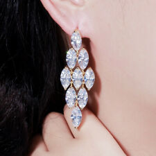 CZ Leaf Marquise Cut Long Big Dangle Earrings For Lover Brides Popular Jewelry