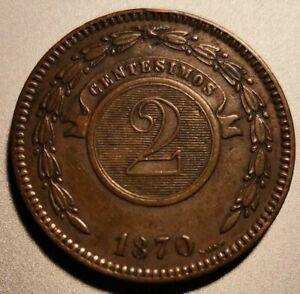 PARAGUAY 2 Centesimos 1870 Copper KM 3 XF+