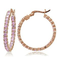 Rose Gold Flash Sterling Silver Pink Cubic Zirconia Round Hoop Earrings, 25mm