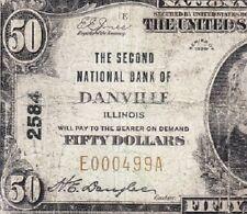 *Scarce* 1929 $50 Danville, Il National Banknote! Free Shipping! E000499A