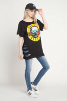 Guns and Roses T Shirt Women's Dress Over sized T Shirt Off Shoulder Distressed
