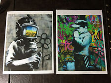 Two - Banksy canvas 8 x 10 Prints street art graffiti Gas Mask Boy
