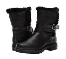 Report Boots Womens Size 9.5 Black Nesta Faux Fur Lined Boot Combat Booties NEW