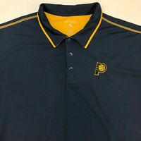Antigua Pacers Golf Polo Shirt Men's 2XL XXL Short Sleeve Gold Navy Polyester