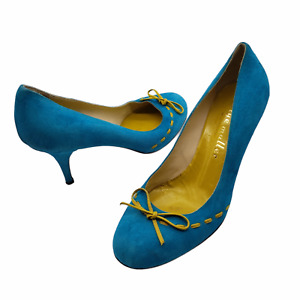 Bettye Muller Heels pumps teal blue suede yellow bow Womens Size 37 US 7 italy