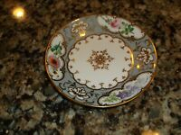 VINTAGE ANTIQUE CHINA POTTERY 6 INCH PLATE GOLD PINK GRAY 5 5563 MARKED ON BACK