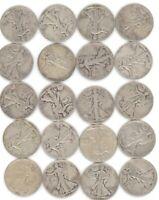 20 Coins Full Roll Walking Liberty Half Dollar Lot 90% Silver Old US SEE PICS.