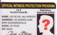 Witness Protection novelty plastic collectors card Drivers License