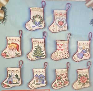 """Bucilla """"Tiny Victorian Stockings"""" Christmas Ornaments Counted Cross Stitch Kit"""