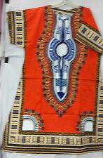 Batik African Traditional Dashiki Long Women Dress Kaftan Maxi Orange Free Size
