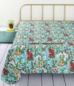 Women Frida kahlo Print Kantha Quilt Turquoise bed cover throw Indian Bedspread